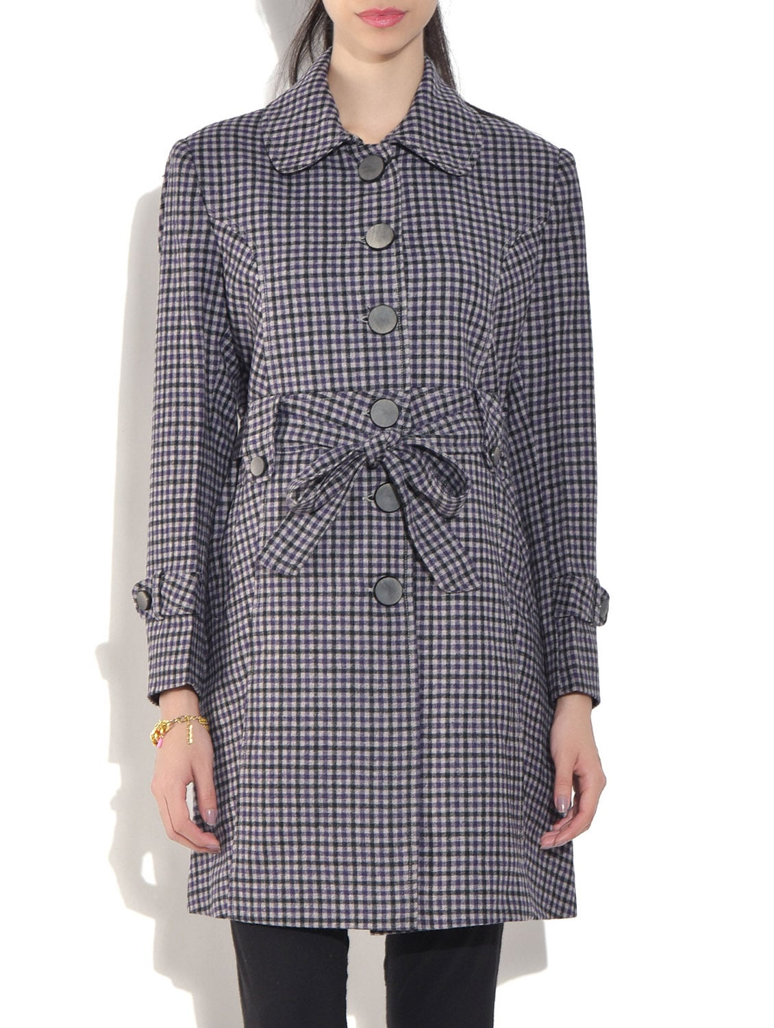 Grey Wool Blend  Checkered Long Sleeves Coat - By - 1317570