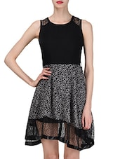 Black Printed Sleeveless Georgette Dress - By