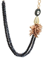 Black Multiple Beaded Pearl Embellished Necklace - By