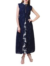 navy blue floral poly georgette maxi dress -  online shopping for Dresses