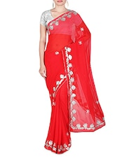 Red Faux Georgette Plain Embroidered Saree - By