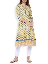 Yllow Cotton Printed A-line Kurta - By
