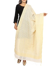 Beige  Banarasi Woven Cotton Jute Dupatta -  online shopping for Dupattas