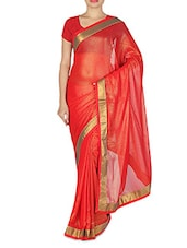 Red Faux Georgette Plain Gota Patti Bordered Saree - By