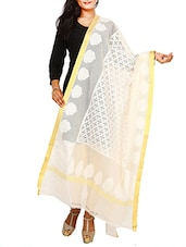 Off-White Net Banarasi Woven Dupatta - By