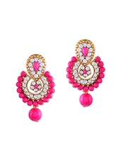 Pink Brass Push Back Earring - By