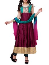 Wine Cotton Embroidered Semi Stitched Suit Set - By