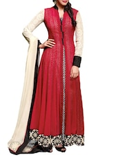 Red And Cream Georgette Embroidered Anarkali Suit Set - By