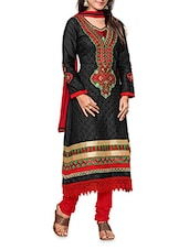 Black Cotton Embroidered Unstitiched Suit Set - By