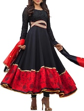 Black And Red Coloured Embroidered Anarkali Suit Set - By