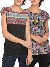 set of 2 multicolored printed crepe tops -  online shopping for Tops