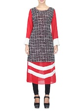 Red And Black Georgette Printed Kurta - By