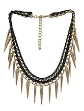 Black And Gold Spiked Statement Necklace - By