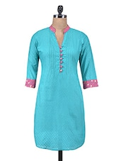 Blue Cotton Jacquard Kurti With Non-functional Buttons - By