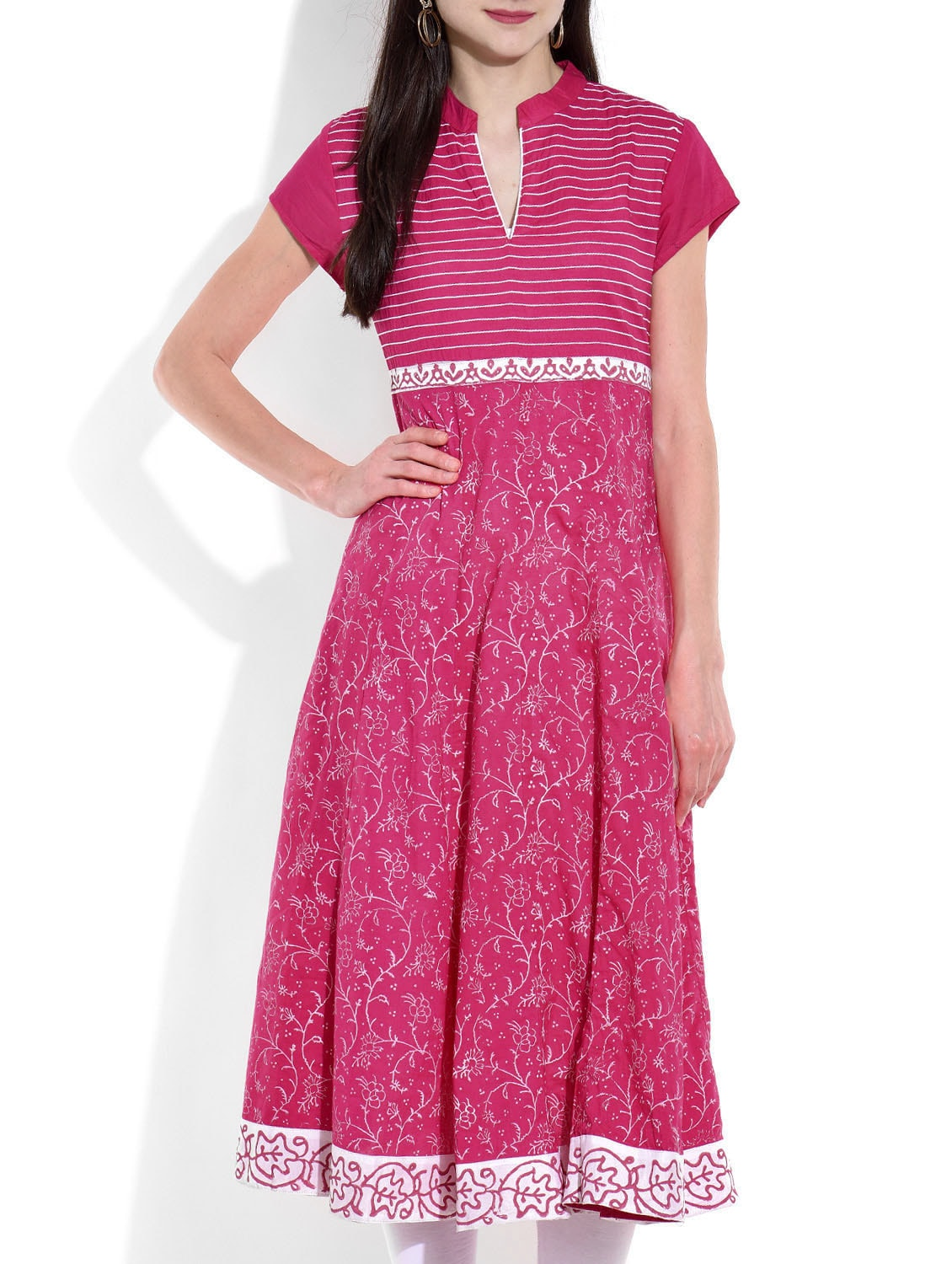 Buy 1 Get 1 Free On Kurtis By Limeroad | pink flared cotton kurta @ Rs.760