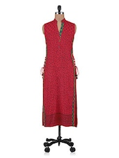Red Printed Side-fastened Cotton Kurti - By