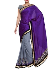 Purple And Grey Embroidered Saree - By