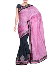 Pink And Grey Embroidered Saree - By