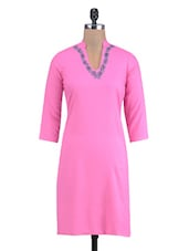 Pink Rayon Embroidered Kurti - By