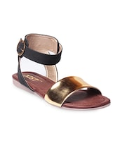 Black and Gold Faux Leather Buckled Sandals -  online shopping for sandals