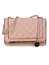 Peach Textured Faux Leather Sling Bag -  online shopping for sling bags