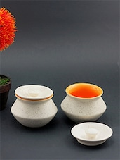 Off White And Yellow Ceramic Clay Handi Set - By