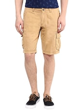 beige cotton short -  online shopping for Shorts