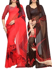 multi poly georgette combos saree -  online shopping for Sarees