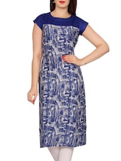 blue rayon printed straight kurta -  online shopping for kurtas