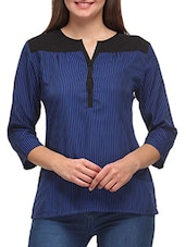 Blue And Black Striped Quarter Sleeved Crepe Top - By