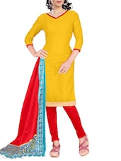 Red And Yellow Unstitched Suit Set - By
