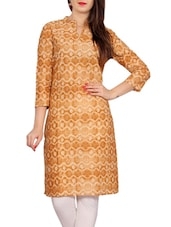 Brown And White Cotton Printed Straight Kurta - By