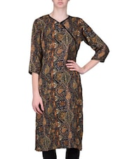 Brown Viscose Blend Printed Kurti - By