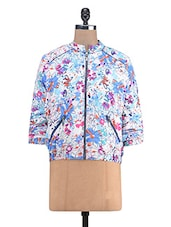 Multicolored Poly Crepe Floral Quilted Jacket - By