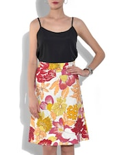 Floral Printed Multicolor Cotton A-Line Skirt - By