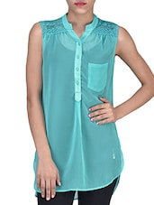 Solid Sea Green Polygeorgette Sleeveless Top - By