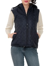 Black Hooded Sleeveless Quilted Jacket - By