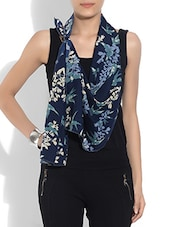 Navy Blue Printed Poly Crepe Scarf - By