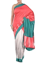 Multicolored Malabar Silk Printed Sari - By