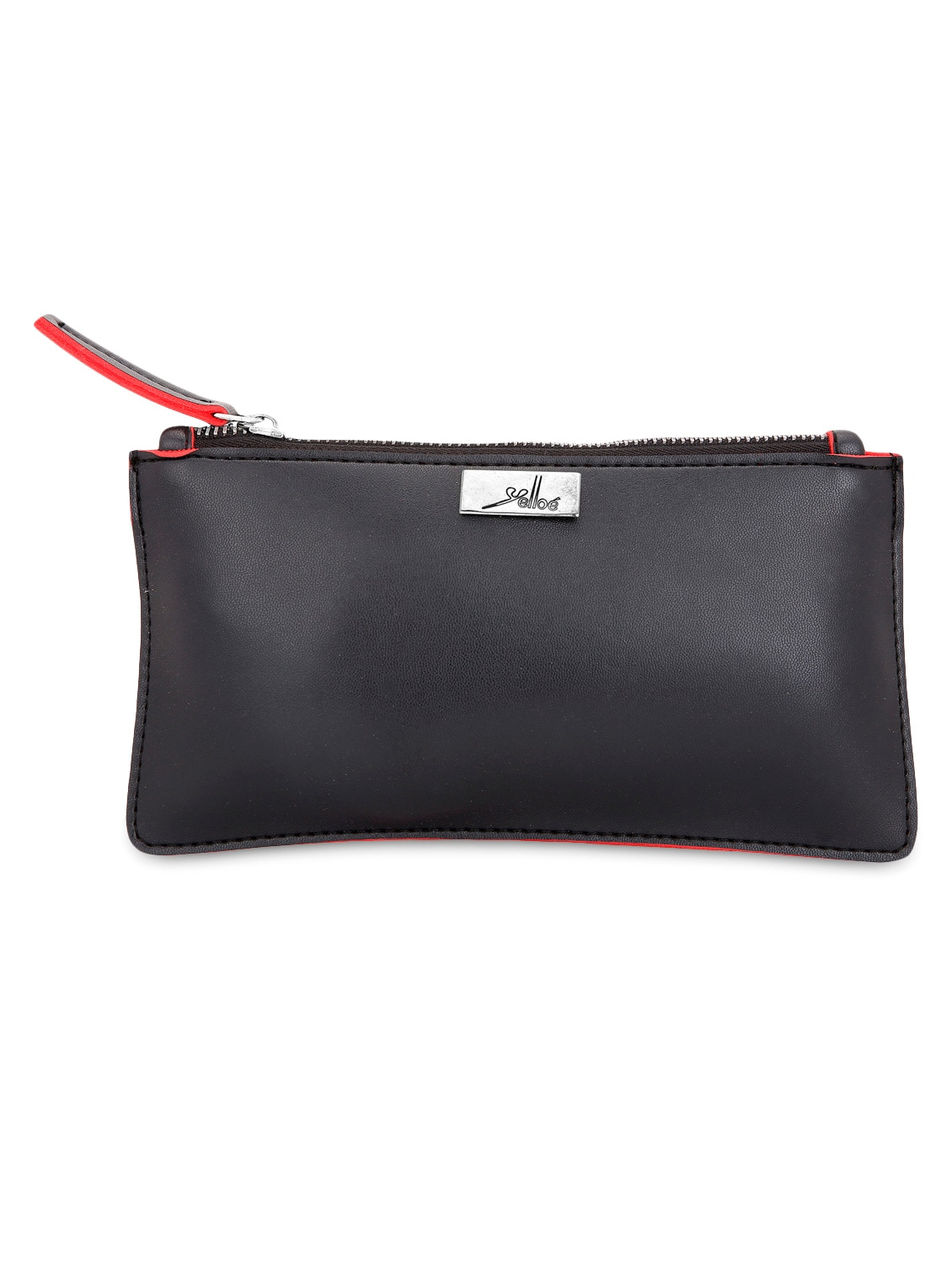 Solid Black Leatherette Wallet With Cardholder - By