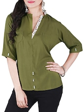 Olive printed rayon top -  online shopping for Tops