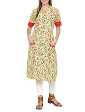 Yellow Cotton Printed A-line Kurta - By