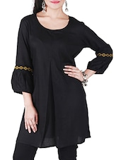 black rayon round neck tunic -  online shopping for Tunics