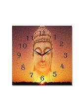 Multicolored Seasoned Wood Buddha Meditating Printed Wall Clock - By