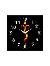 Multicolored Seasoned Wood Ganesha Designed Printed Wall Clock - By
