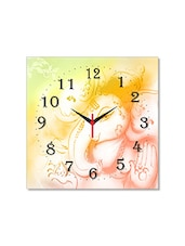 Multicolored Seasoned Wood Ganesha Designed Printed Wall Clock - By - 1325565