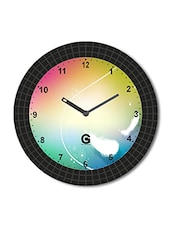 Multicolored Plastic And Glass Abstract Art Printed Wall Clock - By