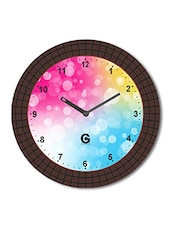 Multicolored Plastic And Glass Heart Shaped Key Printed Bubble Printed Wall Clock - By