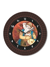 Multicolored Plastic And Glass Floral Printed Ganesha Designed Printed Wall Clock - By