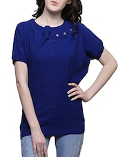 blue poly cotton knitted top -  online shopping for Tops